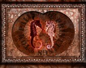 Seahorses couple in a Nautilus heart shape - Kind of Steampunk fossil style -