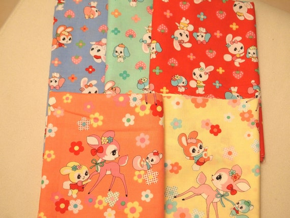 LAST SET - SALE Lecien Honey Tune - Bambi, Bunny, Strawberry and floral, Kawaii japanese fabric, fat quarter
