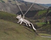Tasmanian tiger sterling silver pendant on a chain