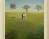 Three Children In a Landscape/Free Shipping