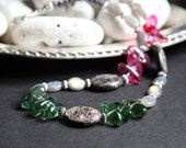 Handmade Bohemian Necklace with Tourmaline, Labradorite and Biotite  Nuggets