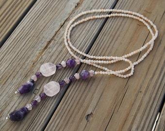 Handmade Amethyst  and Quartz Rose Long Scarf Necklace