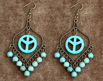 Handmade Chandelier Earrings with Turquoise