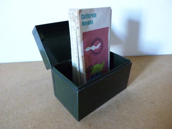 Army Green Index File Box