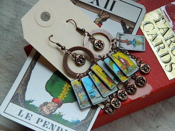 Tarot card earrings with moon face charms on copper circles divination esoteric jewelry Sarah Wood Steampunk Victorian