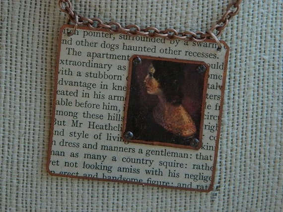 Emily Bronte necklace pendant Wuthering Heights Victorian Steampunk mixed media