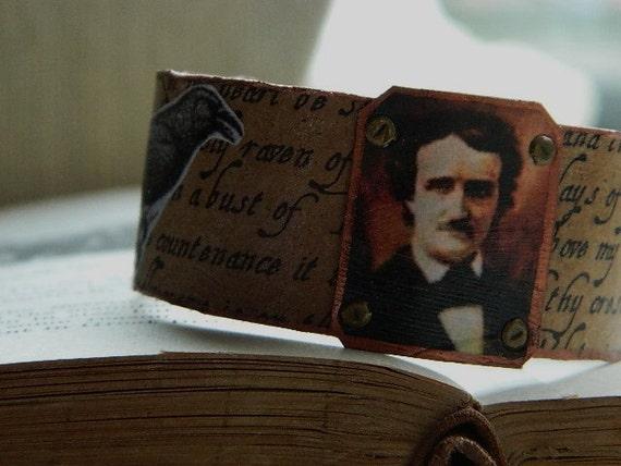 Edgar Allan Poe The Raven cuff bracelet poetry literary literature mixed media jewelry Sarah Wood Halloween