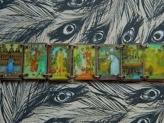 Tarot charm bracelet seven dainty cards Italian vintage tarot Victorian Steampunk inspired Sarah Wood
