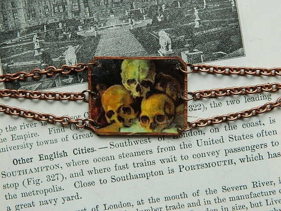 Paul Cezanne French 19th painter Pyramid of Skulls charm and chain bracelet Art Nouveau