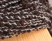 Sable and Silver Alpaca handspun boucle art yarn - 50 Yards