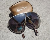 Vintage Mirrored Folding Aviator Sun Glasses In Case.