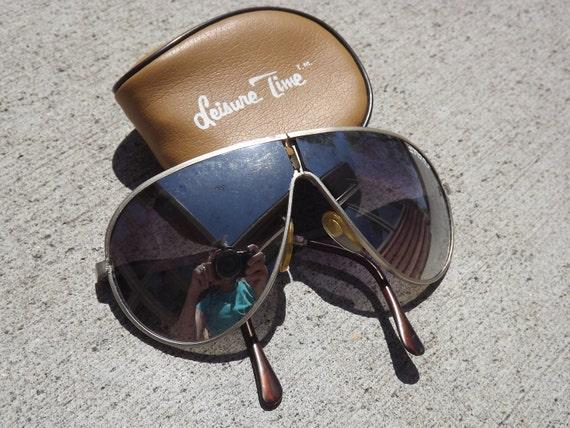 Vintage Mirrored Folding Aviator Sun Glasses In Case.