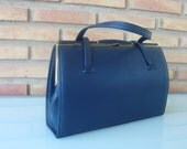 Vintage navy blue leather  handbag/mad men stylel/retro/classical