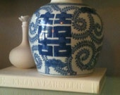 Vintage Asian Chinoiserie Vase with Blue and White Finish