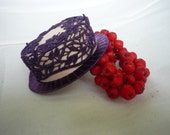 Purple and dressy hat for doll