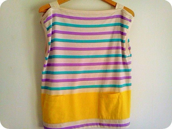 1980s Pastel Yellow, Purple and Teal Striped Tank Tee