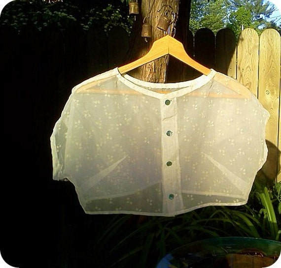 Vintage Sheer Crop Top with Embroidered floral detail..SALE