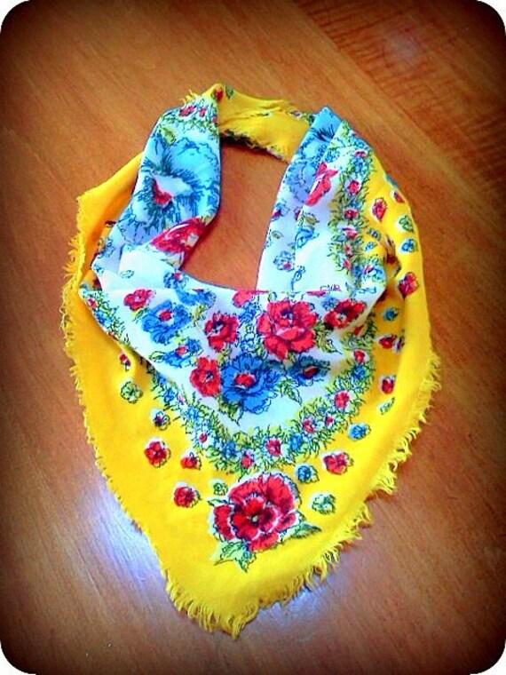 Floral Print Handkerchief, Bandana, Scarf