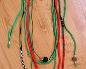 CACAU Red & Green Necklace. Recycled Fabric w/Tibetan Beads