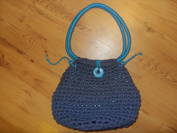 CACAU Denim Shoulder Bag. Turquoise Stone Button. Tibetan beads.