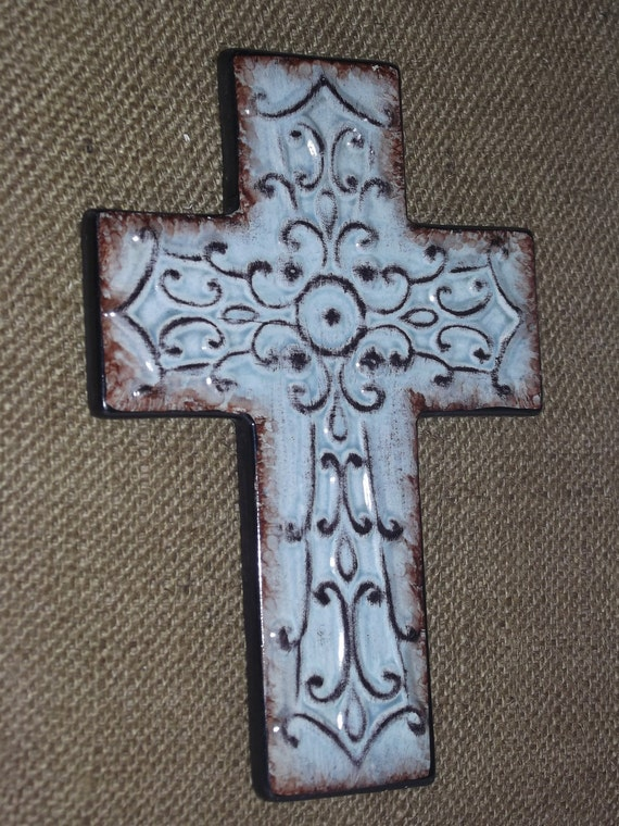 Items Similar To Hanging Cross Wall Decor Reclaimed Wood Burlap Rustic Christmas Decor: home decor wall crosses