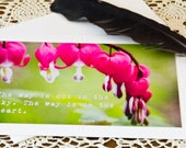 Inspirational Photo Greeting Card - Blank Note Card - 5x7 - Buddha Quote - Paper Goods - Bleeding Heart Flowers - Fushia Spring Green