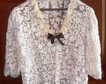Vintage Victorian Irish Crochet Lace Jacket  c. Early 1900's
