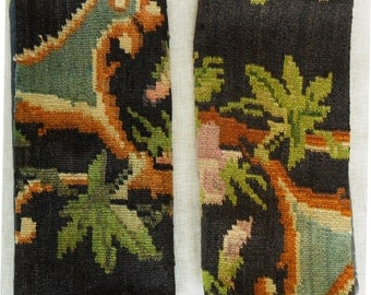 TWO Caucasian Moldovan Floral Kilim Rug Pillow Covers c.1950's