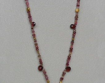 Vintage Necklace with Red Rubies, Crimson Garnets and  Pink Tourmalines
