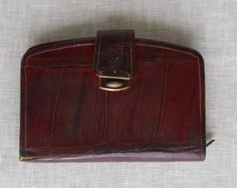 Vintage Amazonian Caiman Crocodile Wallet or Clutch c.1930's