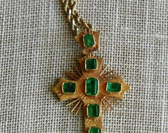 Vintage 18k Yellow Gold with Columbian Emeralds Crucifix/Cross