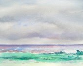 "Beach Painting, ""Clouds Over the Gulf,"" Original Watercolor, 9 x 12 in. by Heather McCaw"