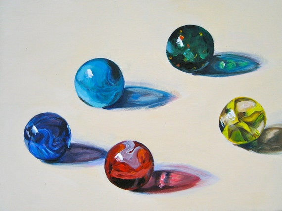 Marble Art, Original Painting Colorful Glass Marbles, Mid Century Americana, Acrylic, 12 x 9 in. by Heather McCaw