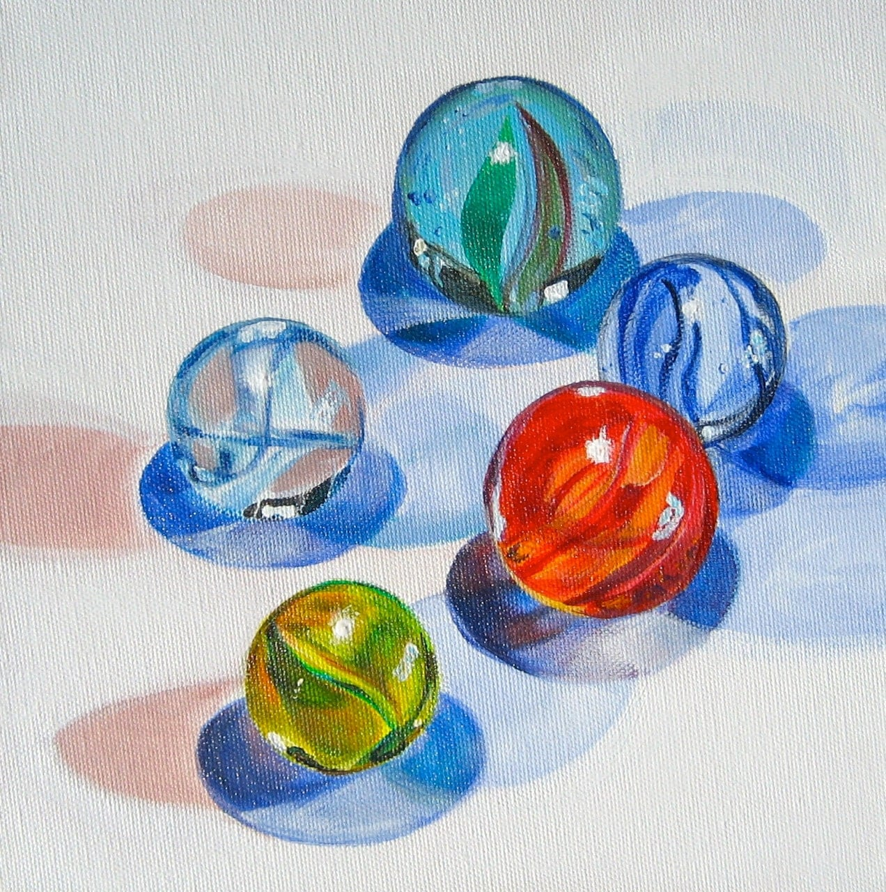 Glass Marble Art Original Painting Marble