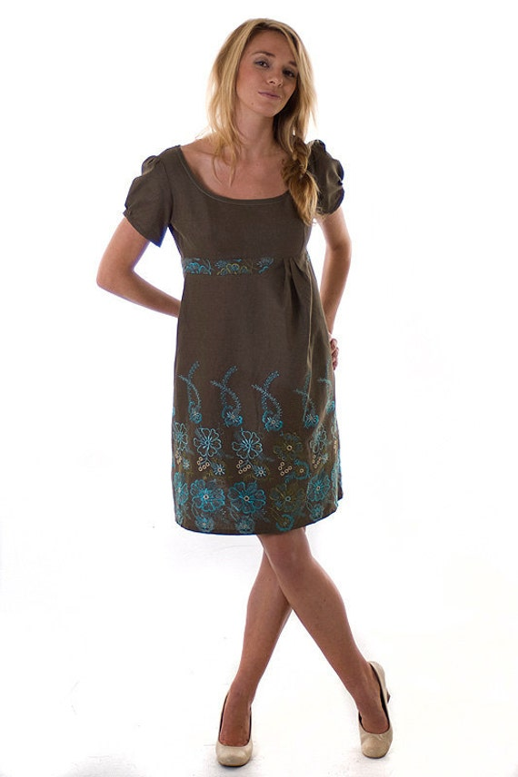ON SALE:  Forest Green Short-Sleeved Womens Dress with Embroidered Blue Flower Pattern and Belt