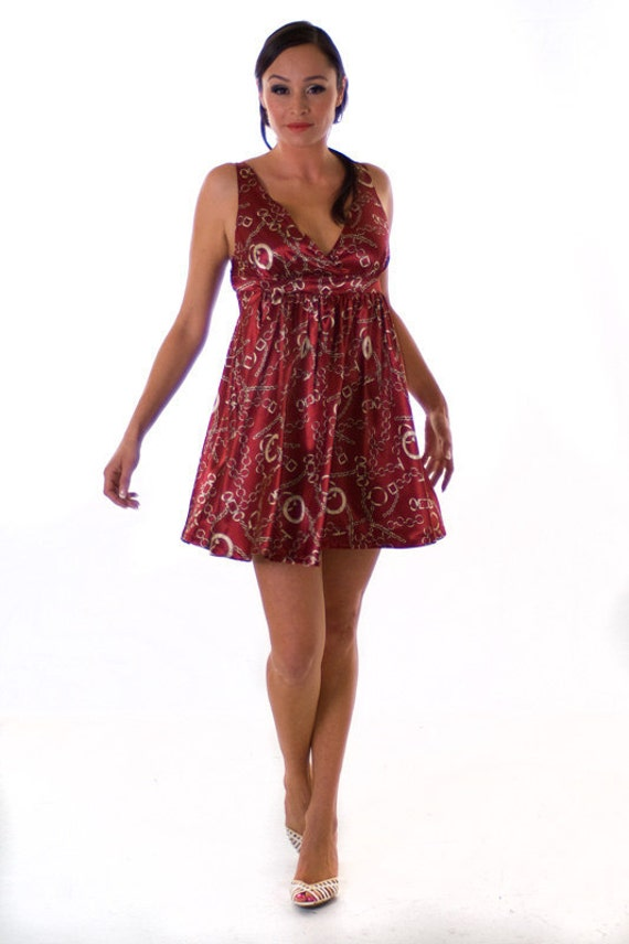 ON SALE: Red Paris Naughty Handcuff Style Patterned Open Backed Mini-Dress Sexy Party Womens Dress