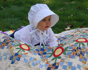 White Bonnet, Cotton, Lightweight, Breathable, Good Fit, Red or White Trim Available