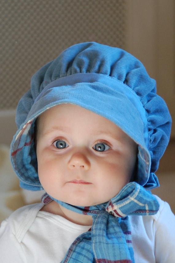 Blue corduroy baby bonnet - Reversible