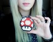 Red Mushroom Perler Bead Necklace