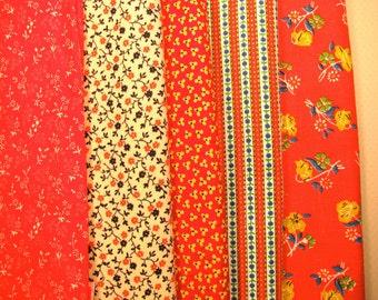Group of fabrics, coordinated fabrics, red print fabrics - #4