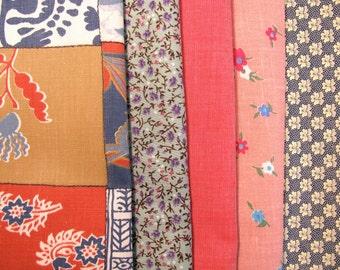 Group of cotton fabrics, print fabrics, color coordinated - #14