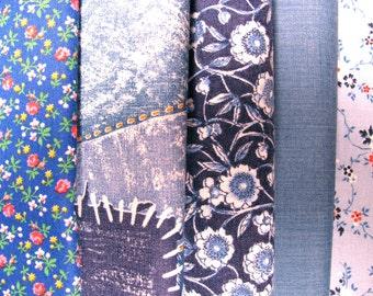 Group of cotton fabrics, coordinated fabrics, blue prints - #19