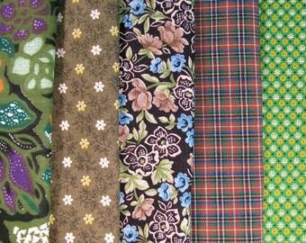 Group of cotton fabrics, coordinated colors, cotton prints - 25