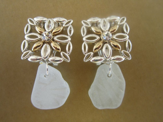 White Sea glass clip on earrings gold and silverfree shipping free shipping