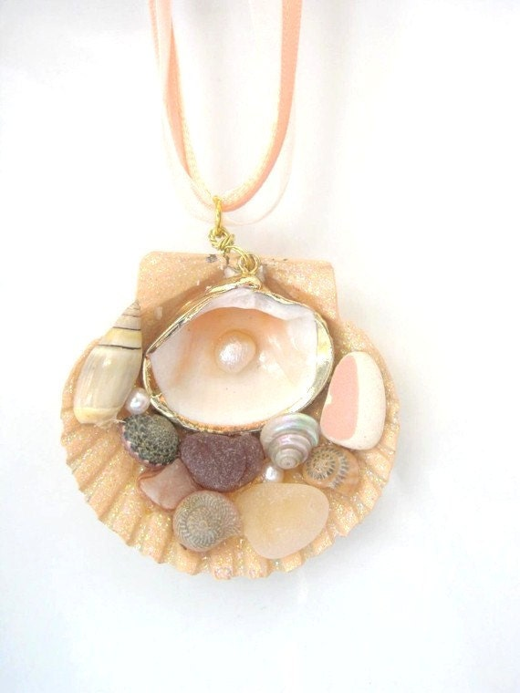 Seaglass and Shell Necklace beach pottery pearls peach