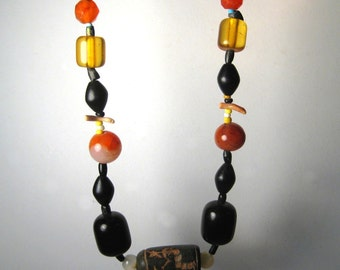 Vintage African Mixed Bead Necklace Amber Carnelian Clay