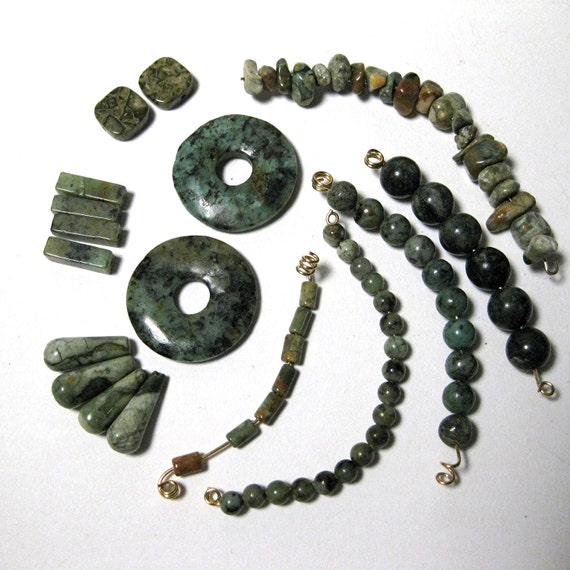 Green Jasper Bead Mix P201216
