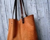 Custom size leather bag / carry-all tote / soft leather / vintage army details / Made to order.