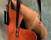 Ready to ship Italian leather bag / Carry-all tote / Lap Top bag /  Vintage army details / Cognac color