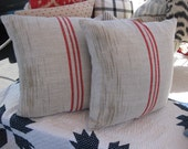 vintage red stripe hungarian grain sack square pillow - limited quantity
